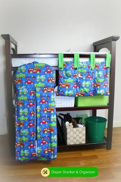 Handmade diaper stacker and organizer.