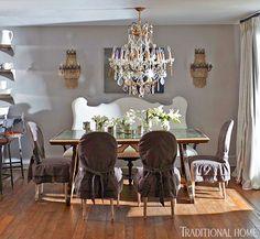 Fashion designer, Stephanie Carter, Florida beach house via Traditional Home! Chic and neutral dining room!