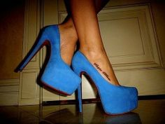 electric blue platforms.