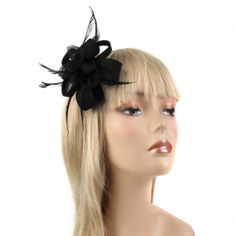 Black Flower/Swirl Fascinator with Feathers (Hazel) Fascinator Hairstyles, Feathers, Flower, Clothing, Black, Fashion, Outfits, Moda, Clothes