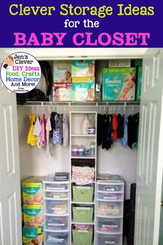 Closet Organization To Declutter The CLUTTER in small spaces like the nursery. / Clever Storage Ideas / for the / Baby Closet Nursery Closet Organization, Baby Room Storage, Baby Clothes Storage, Small Space Organization, Organizing Ideas, Organization Hacks, Organizing Baby Closets, Clothes Storage Ideas For Small Spaces, Baby Bottle Storage