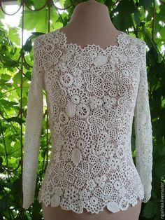 Купить нарядная блузка Белый вальс - белый, однотонный, ирландское кружево, блузка, блузка женская
