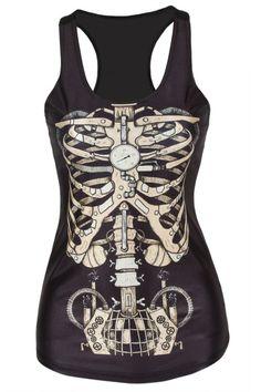 Camiseta esqueleto Modelo  MX25334 Camiseta nadadora diseño de esqueleto con escote redondo.  Composicion: poliester y elastico.