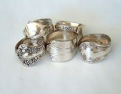 I've been wanting to make some napkin rings for a while - maybe this spoon ring tutorial will give me the shove I need. DIY :: how to make spoon rings Silver Spoon Jewelry, Silverware Jewelry, Silver Spoons, Jewelry Rings, Jewelery, Jewelry Accessories, Jewelry Design, Silver Cutlery, Flatware