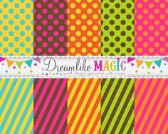 Dreamlike Magic Designs: Freebie! Funky Fall Stripes N Dots Digital Papers
