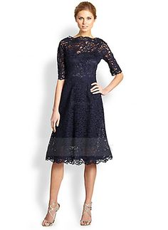 A-Line/Princess Scoop Neck Knee-Length Lace Lace Zipper Up Sleeves 1/2 Sleeves No 2015 Dark Navy Spring Fall Winter General Mother of the Bride Dress