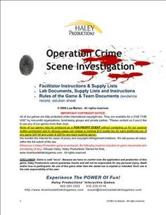 Mystery Party Game - Operation Crime Scene Investigation. Our forensic mystery game for kids age 10 - 16