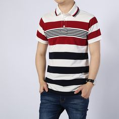 Cheap shirt ajax, Buy Quality clothes singapore directly from China shirt image Suppliers: [xlmodel]-[custom]-[8888] 2017 New Fashion Business Male Cotton White Red Stripe Camisa Polo Shirt Casual Breathable