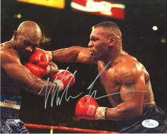 Mike Tyson Signed 8x10 Photo - Fighting Evander Holyfield, Tyson on Right - JSA I41579