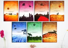 Star Wars Episode I-VII Minimalist Art Poster Print Set - Wall Art --7 for the price of 6!-- (Available In Many Sizes)