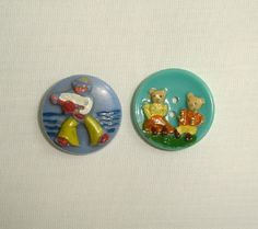 Vintage French Kiddie Buttons  cute collectible by marias9 on Etsy