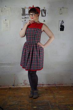 Petticoatkleider - 50er Jahre Kleid Kariert mit Bootauschnitt Gr.38 - ein…