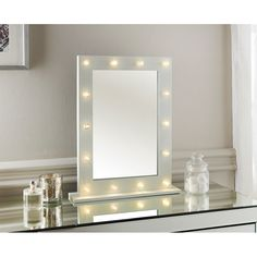 Hollywood Dressing Table Mirror. You'll be transformed to the magical world of Hollywood with this LED light detailed dressing table mirror. 60 x 80 x 2cm.