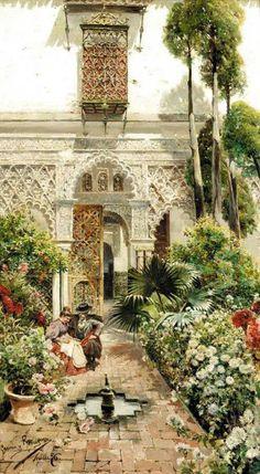 Manuel Garcia y Rodriguez - A Garden in Seville