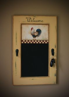 Hand Painted French Country Rooster on a shabby chic chalkboard