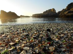 Glass Beach in MacKerricher State Park, California. Instead of sand, piles of polished and multi-colored sea glass cover the beach