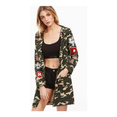 SheIn(sheinside) Olive Green Camo Print Hooded Coat With Patch Detail (7.325 KWD) ❤ liked on Polyvore featuring outerwear, coats, green, patch coat, colorblock coat, single-breasted trench coats, olive coat and short coat
