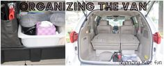 Organizing Made Fun: Organizing the van - need to get one of those ikea bins that fits between the captain chairs!
