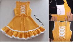 KOLAY ETAMİN ÖRNEKLERİ   Nazarca.com Granny Square Crochet Pattern, Tunisian Crochet, Baby Knitting Patterns, Crochet Patterns, Easy Knitting, Baby Items, Apron, Summer Dresses, Fashion