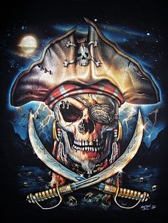 Evil pirate skull tattoo - photo#20
