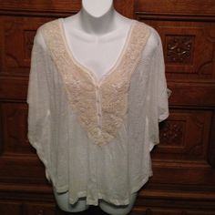 """""""Spoiled"""" Top Cream colored. Laced down the front & V in the back. Bat sleeved. Thin see thru material. New with tags never worn. Spoiled Tops Blouses"""
