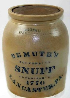 "Sold For $ 1,600         	   	        	   	           	      	                  One Gallon Stoneware Cobalt Stenciled Decorated Storage Jar, Stamped F. H. Cowden, Harrisburg, Demuth's Snuff, Celebrated And Established 1770, Lancaster, PA, 9""H"