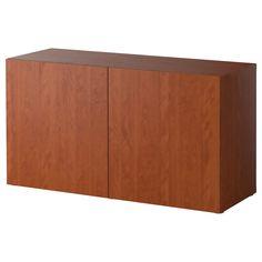 "BESTÅ Shelf unit with doors - Vara medium brown, 47 1/4x15 3/4x25 1/4 "" - IKEA"
