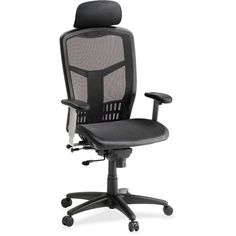 LLR 6034 High Black Chair Synchro tilt mechanism with seat slide and headrest. Mesh back and seat withnplastic coated steel frame. Upholstered headrest. http://vaughanofficefurniture.com Call us for great deals!📞 905-669-0112