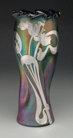 : Austrian Iridescent Glass Vase with Silver Overlay. Circa 1900.