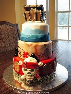 Pirate tiered sweet 16 cakes