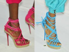 Kenzo brightly coloured string & espadrille style raffia soles constrasted to towering stiletto heels. Spring/Summer 2010 Shoes
