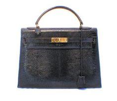 Hermes 32cm Navy Blue Lizard Leather Kelly Bag