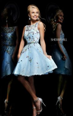 Open-Back Beaded Sherri Hill 4305 Cheap Light Blue/Multi High-Neck Short Lace Prom Dresses Prom Dress 2014, Cheap Homecoming Dresses, Sherri Hill Prom Dresses, Prom Dresses Blue, Short Dresses, Dresses 2014, Dressy Dresses, Homecoming 2014, Prom 2016