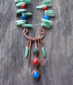 Copper Necklace Green Red Blue Tribal Necklace by MaryBulanova