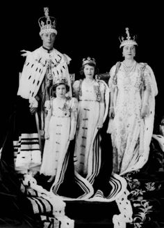 Official Coronation photo of King George VI and his family.  Princess Elizabeth was now heiress presumptive, presumptive because her parents could still have had a son who would've superseded Elizabeth in line to the throne.