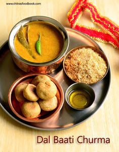 Dal baati is a very famous Indian dish that is made of Dal ( lentils) & wheat flour/Atta as major ingredients. It is most popular in Raja. Indian Food Recipes, Vegetarian Recipes, Cooking Recipes, Jain Recipes, Vegetarian Curry, Gujarati Recipes, Potluck Recipes, Kitchen Recipes, Easy Cooking