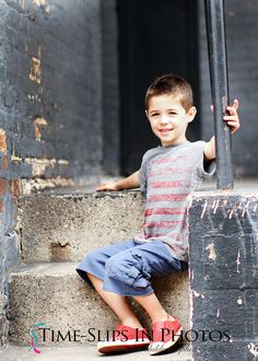 Time-Slips In Photos ~ Children's Photography warehouse sessions Photo session on loading dock in Chicago. urban location