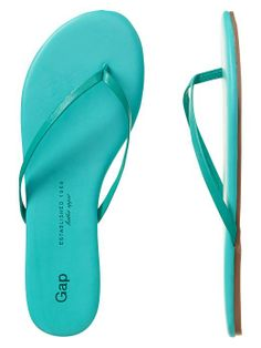 turquoise leather flip flops