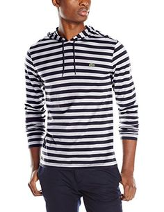 Lacoste Men's Long Sleeve Striped Jersey Hoody Tee Shirt, Navy Blue/Silver  Chine,