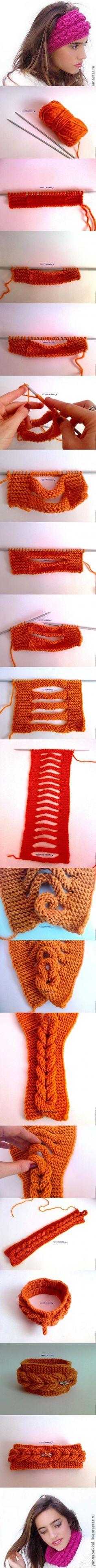 Красивая повязка на голову.| www.FabArtDIY.com | вязание | Постила