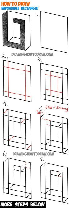 How to Draw an Impossible Square or Rectangle : Easy Step by Step Drawing Tutori. How to Draw an Impossible Square or Rectangle : Easy Step by Step Drawing Tutorial - Illusion Drawings, 3d Drawings, Illusion Art, Cartoon Drawings, Easy Pencil Drawings, Hipster Drawings, Pencil Art, Drawing Lessons, Drawing Techniques
