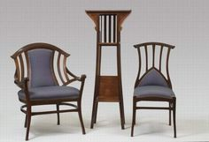 Henry Van De Velde (1863-1957) - Ensemble de Salon. An Arm Chair, a Side Chair, and a Tall Shelf, Circa 1897-1898.
