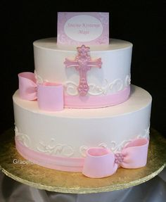 Elegant Pink and Ivory Christening Cake by Graceful Cake Creations, via Flickr