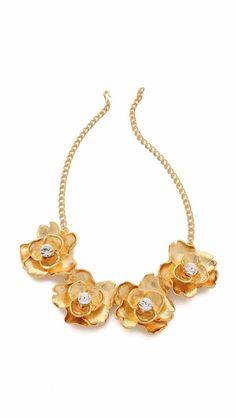 KJL Kenneth Jay lane flower goldtone necklace rare  #KJL