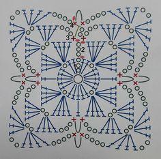 Diagrama para tejer cuadrados a crochet o ganchillo, como hacer los granny squares