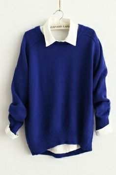 blue and white sweaters Girls Fashion Clothes, Teen Fashion Outfits, Kawaii Fashion, Cute Fashion, Cute Casual Outfits, Dress Casual, Kawaii Clothes, Mode Style, Sweater Shirt