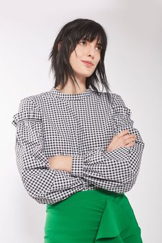 Gingham Mutton Sleeve Blouse - Tops - Clothing - Topshop USA
