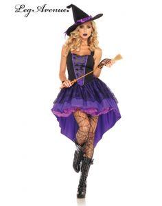 Ragazze Strega Viola//Nero Costume Halloween Wicked cattivi Costume Vestito