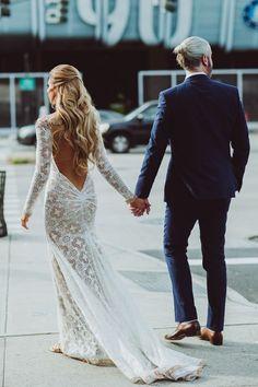 boho long sleeves wedding dress with open back | Deer Pearl Flowers