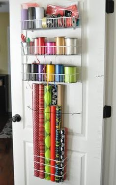 Gift Wrap Organizer on the Back of a Door